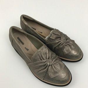Clarks Soft Cushion Tan Metallic Loafers 11 Wide